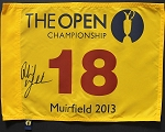 Phil Mickelson Signed Open Championship Flag PSA   Full Letter