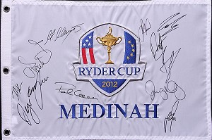 2012 European Team Signed Ryder Cup Flag PSA