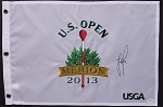 Justin Rose Signed 2013 US Open Flag JSA