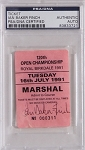 Ian Baker Finch Signed 1991 Royal Birkdale Open Champ Ticket  PSA